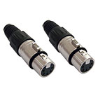 2er Set deetech XLR Stecker female, 5-polig / silber