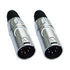 2er Set deetech XLR HD-Stecker, male, 5-polig, silber / Heavy Duty