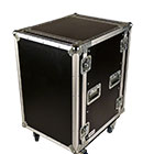 deetech 14 HE - Profi Flightcase / Rack Double Door 9 mm mit Rollbrett