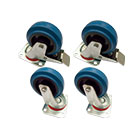 4er Set deetech BW04 - Profi Blue Wheels, Case Rolle 100mm, 2x mit Bremse